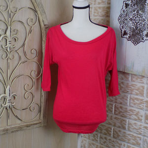 American Eagle red loose scoopneck 3/4 sleeve
